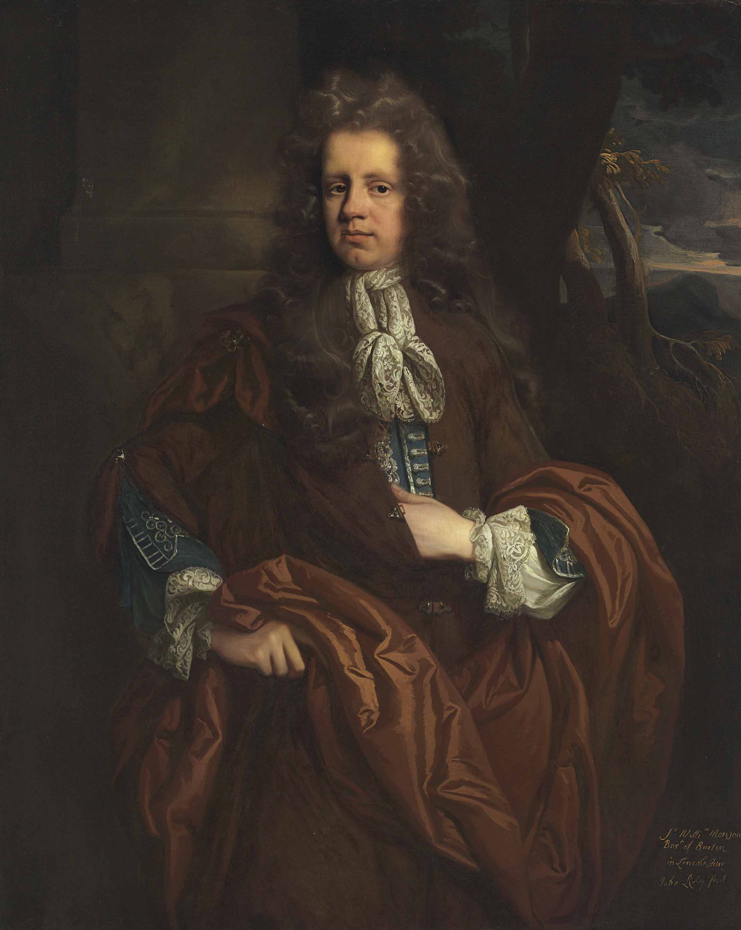 Portrait of Sir William Monson, 4th Bt. (c. 1653-1727), three-quarter-length, before a column, a landscape beyond