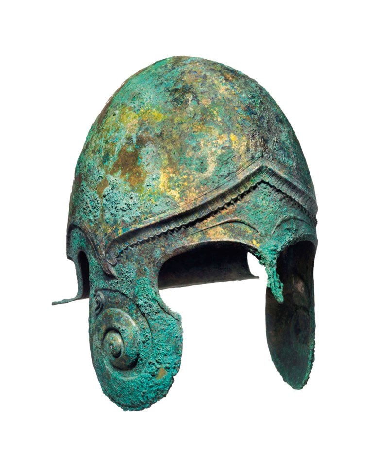 A Greek bronze Chalcidian helmet, Classical Period, circa 450-400 B.C. Sold for $1,039,500 on 28 April 2017 at Christies in New York