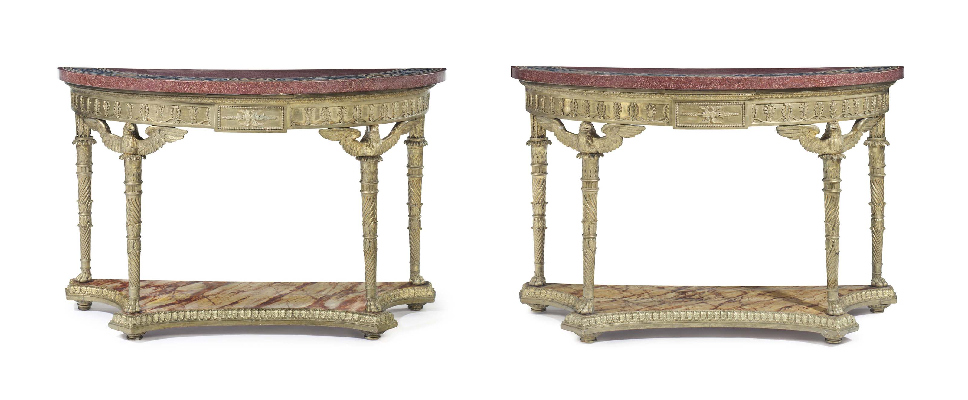 A PAIR OF GEORGE III GILTWOOD DEMI-LUNE CONSOLES AND SCAGLIOLA TOPS