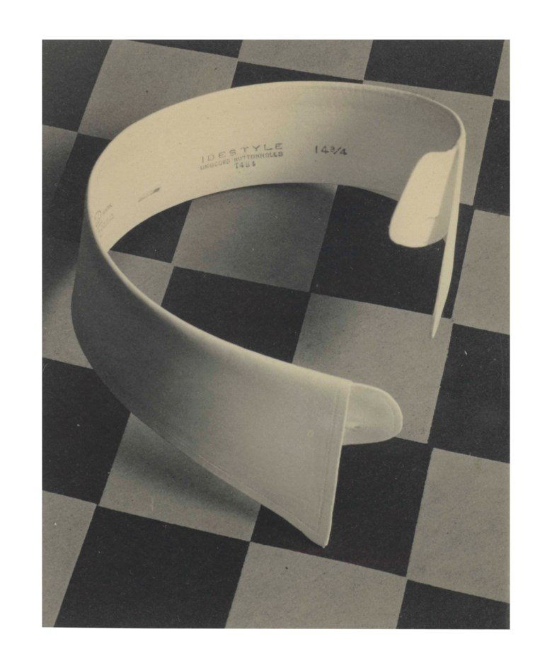 Paul Outerbridge Jr. (1896–1958), Ide Collar, 1922. Sheet 5 x 4  in (12.7 x 10.1  cm). Estimate $250,000-350,000. This lot is offered in Visionaries Photographs from the Emily and Jerry Spiegel Collection on 10 October 2017  at Christie's in New York