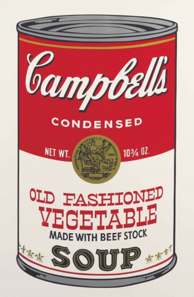 Andy Warhol (1928-1987), Old Fashioned Vegetable, from Campbell's Soup II. Sheet 35 x 23  in (889 x 584  mm). Estimate $18,000-25,000. This lot is offered in Prints and Multiples on 24-25 October 2017  at Christie's in New York