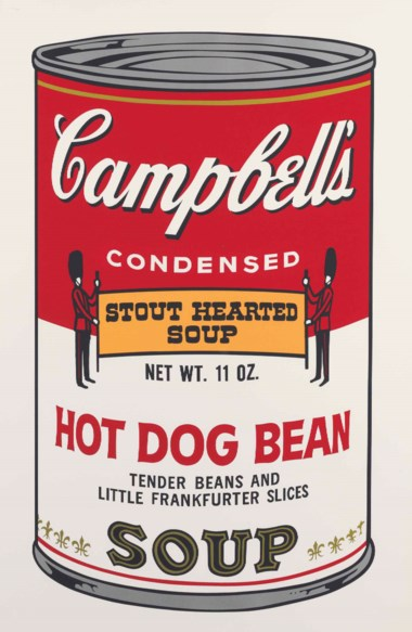 Andy Warhol (1928-1987), Hot Dog Bean, from Campbell's Soup II. Sheet 35 x 23  in (889 x 584  mm). Estimate $18,000-25,000. This lot is offered in Prints and Multiples on 24-25 October 2017  at Christie's in New York