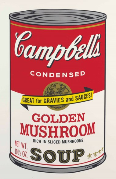 Andy Warhol (1928-1987), Golden Mushroom, from Campbell's Soup II. Sheet 35 x 23  in (889 x 584  mm). Estimate $18,000-25,000. This lot is offered in Prints and Multiples on 24-25 October 2017  at Christie's in New York