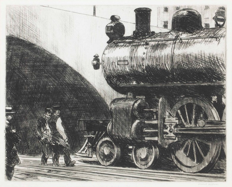 Edward Hopper (1882-1967), The Locomotive. Sheet 9½ x 12  in (241 x 305  mm). Estimate $50,000-70,000. This lot is offered in Prints and Multiples on 24-25 October 2017  at Christie's in New York