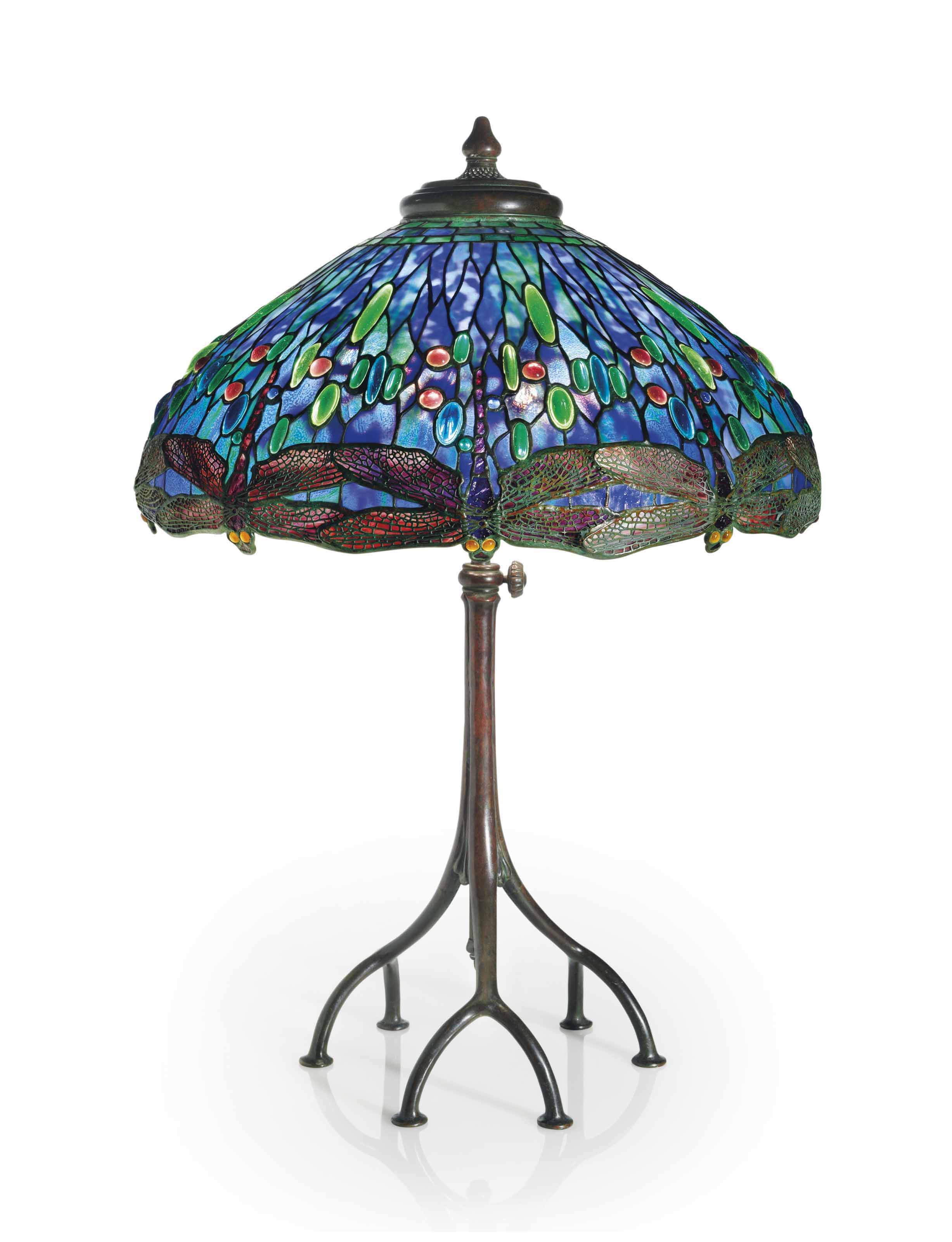 Tiffany Studios, A U0027Drophead Dragonflyu0027 Leaded Glass And Bronze Table Lamp,  Circa 1905. 32 In (81.3 Cm) High, 22⅛ In (56.2 Cm) Diameter Of Shade.