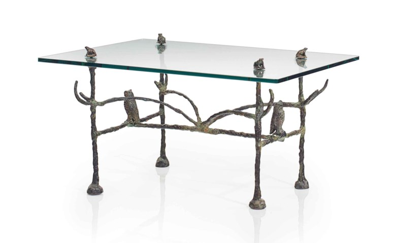 Diego Giacometti (1902-1985), A 'Hiboux et grenouilles' low table, circa 1970. 16¾  in (42.5  cm) high, 30 in (76  cm) wide, 23¾  in (60.4  cm) deep. Estimate $200,000-300,000. This lot is offered in Design on 14 December 2017  at Christie's in New York