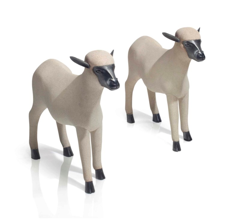 Francois-Xavier Lalanne (1927-2008), two 'Agneaux', 1997.Each 20¼  in (51.5  cm) high, 22 in (56  cm) wide, 6⅞  in (17.5  cm) deep. Estimate $150,000-200,000. This lot is offered in Design on 14 December 2017  at Christie's in New York