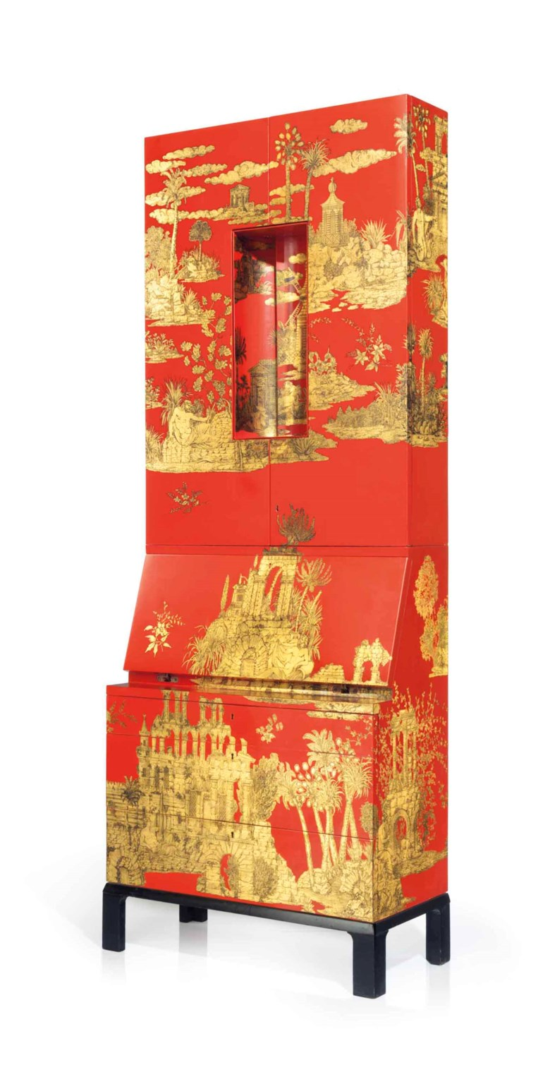 Piero Fornasetti (1913-1988), a rare 'Gran Coromandel' trumeau, 1950s. 85¾ in (218  cm) high, 31½  in (80  cm) wide, 16¼  in (41  cm) deep. Estimate $30,000-50,000. This lot is offered in Design on 14 December 2017  at Christie's in New York