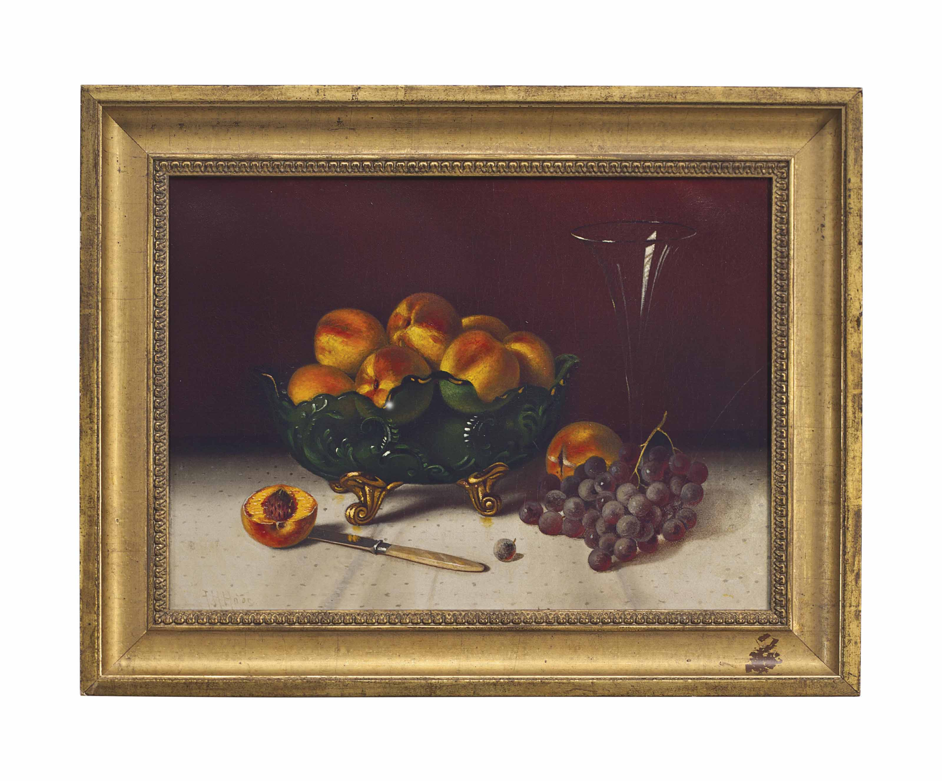 Peaches in green glass bowl, grapes and knife