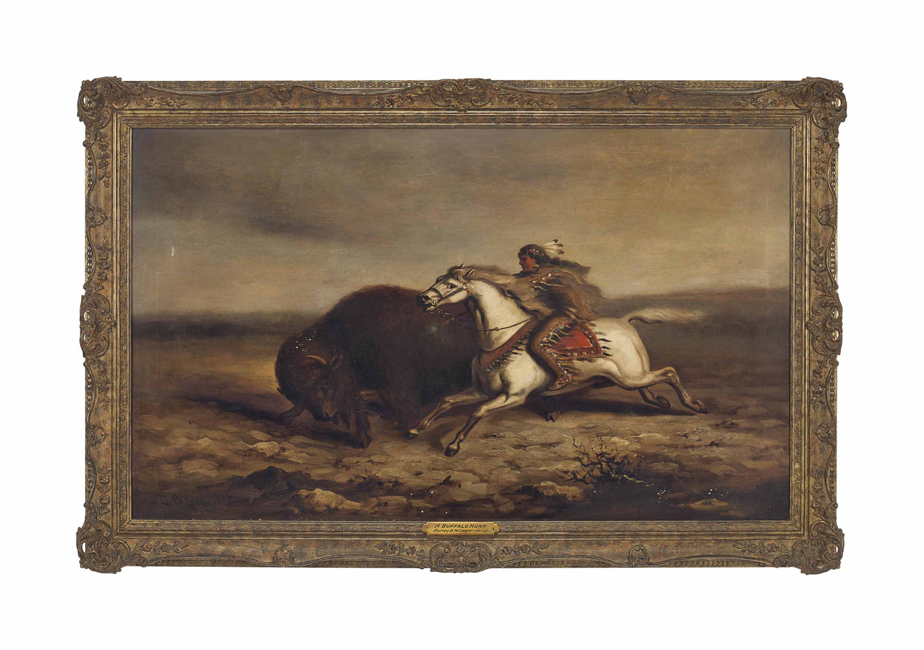 A Red Indian Hunting Buffalo