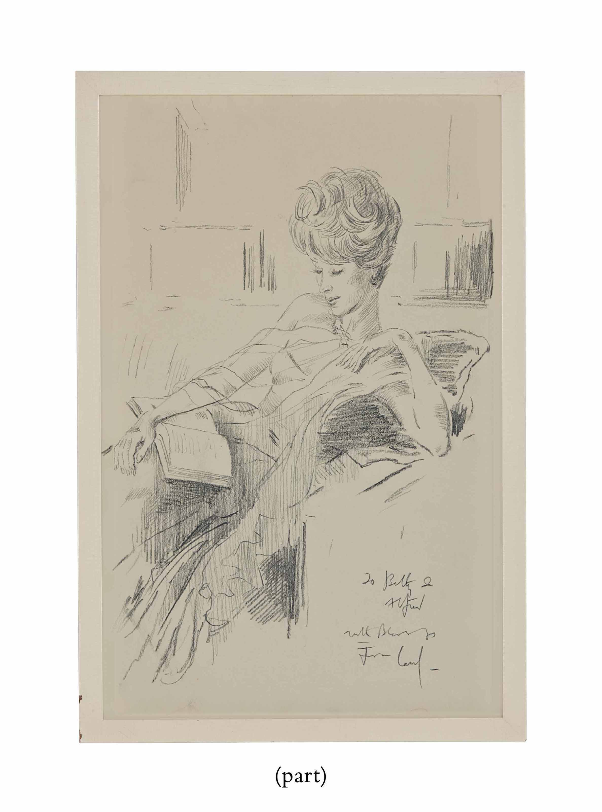 Portrait of Betsy Bloomingdale reading; together with Two books by Beaton, including one presentation copy inscribed by Beaton and with an autographed note signed laid in to Betsy Bloomingdale
