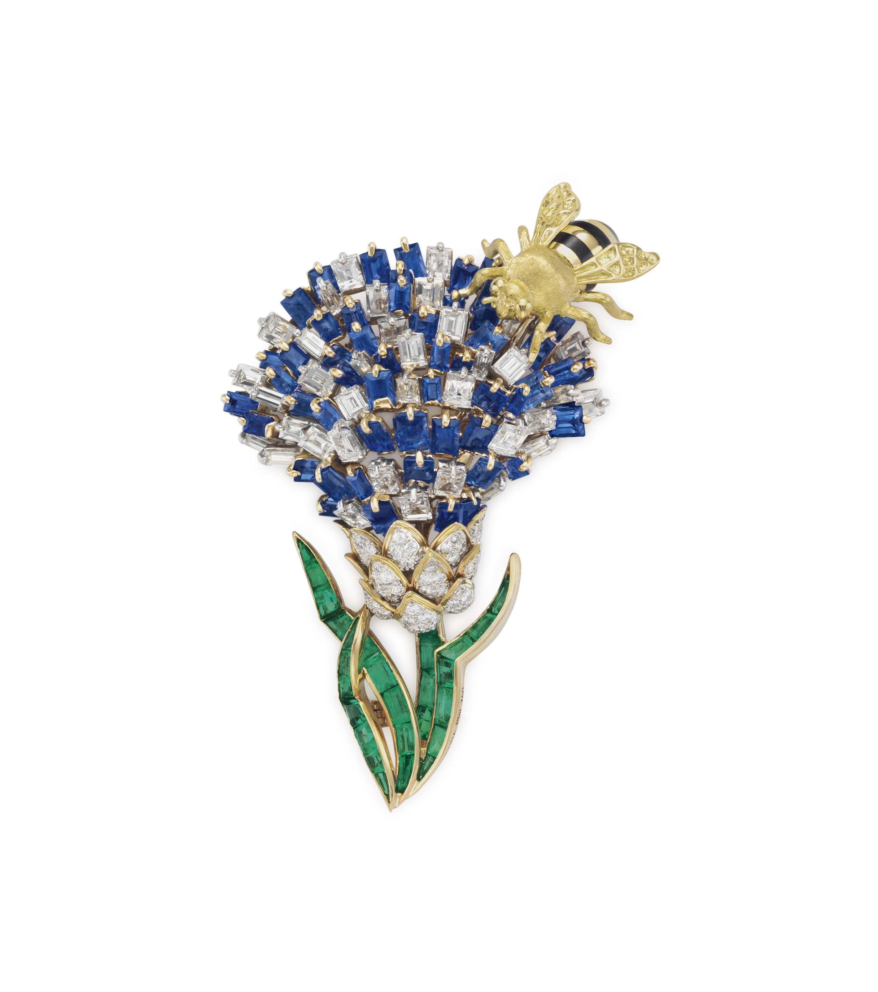 A DIAMOND, SAPPHIRE AND EMERALD 'THISTLE' BROOCH, BY VERDURA
