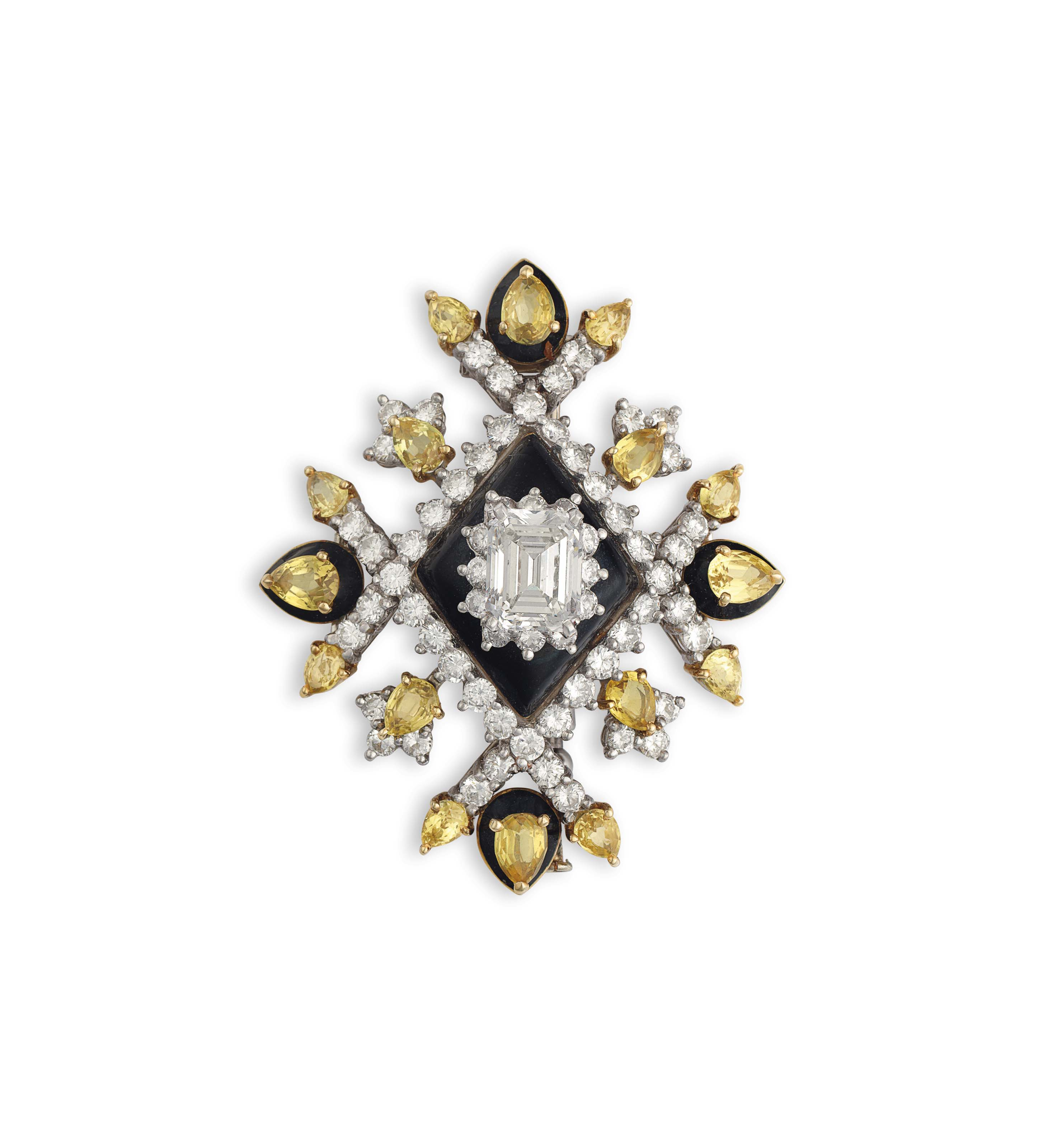 A DIAMOND, COLORED SAPPHIRE AND ENAMEL BROOCH, BY DONALD CLAFLIN, TIFFANY & CO.