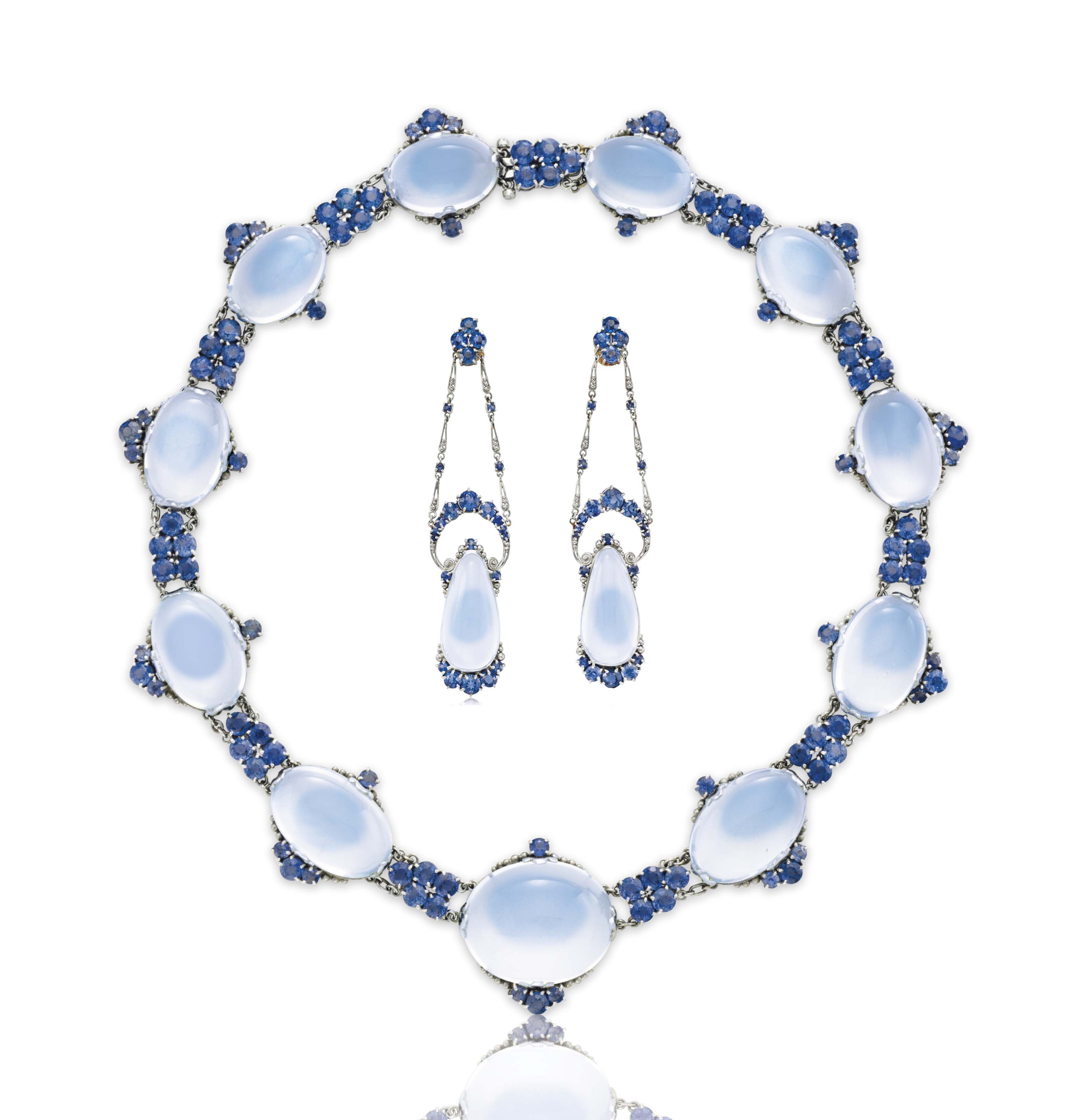 AN IMPRESSIVE SET OF MOONSTONE AND SAPPHIRE JEWELRY, BY LOUIS COMFORT TIFFANY, TIFFANY & CO.