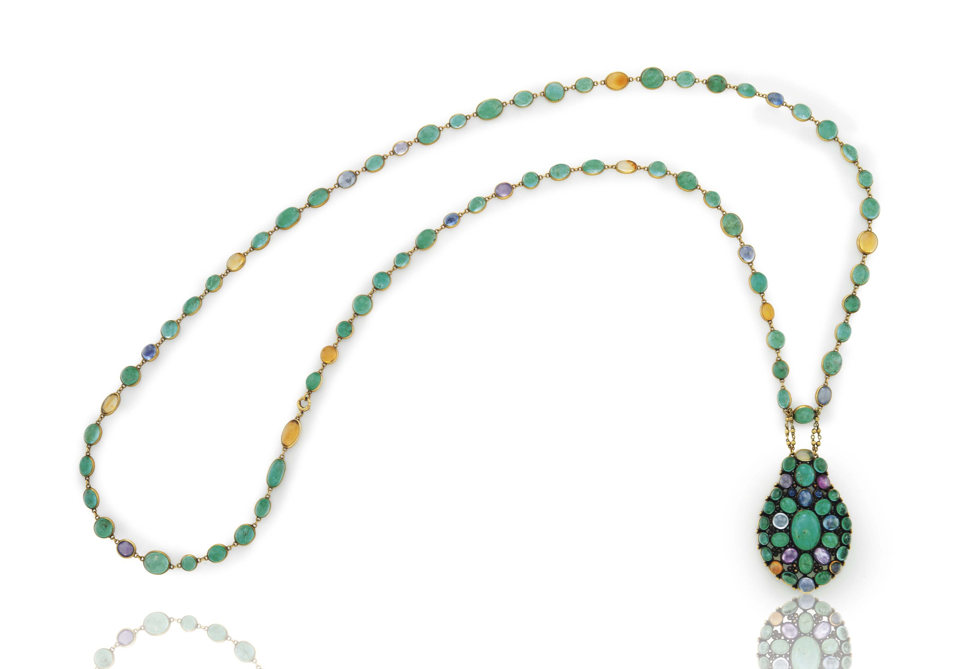 A CABOCHON EMERALD, SAPPHIRE, COLORED SAPPHIRE AND FIRE OPAL PENDANT NECKLACE, BY LOUIS COMFORT TIFFANY, TIFFANY & CO.