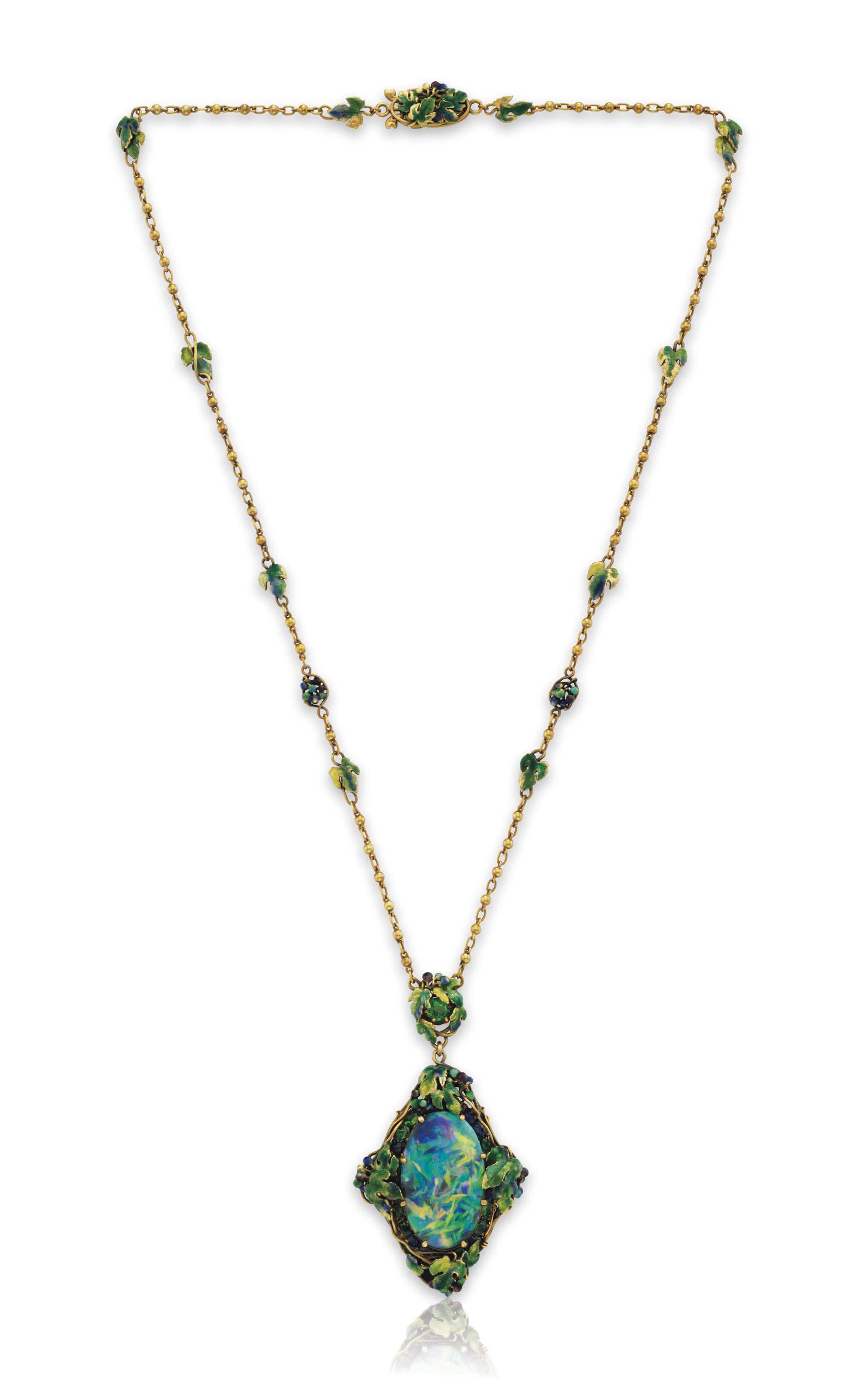 A BLACK OPAL AND MULTI-GEM PENDANT NECKLACE, BY LOUIS COMFORT TIFFANY, TIFFANY & CO.
