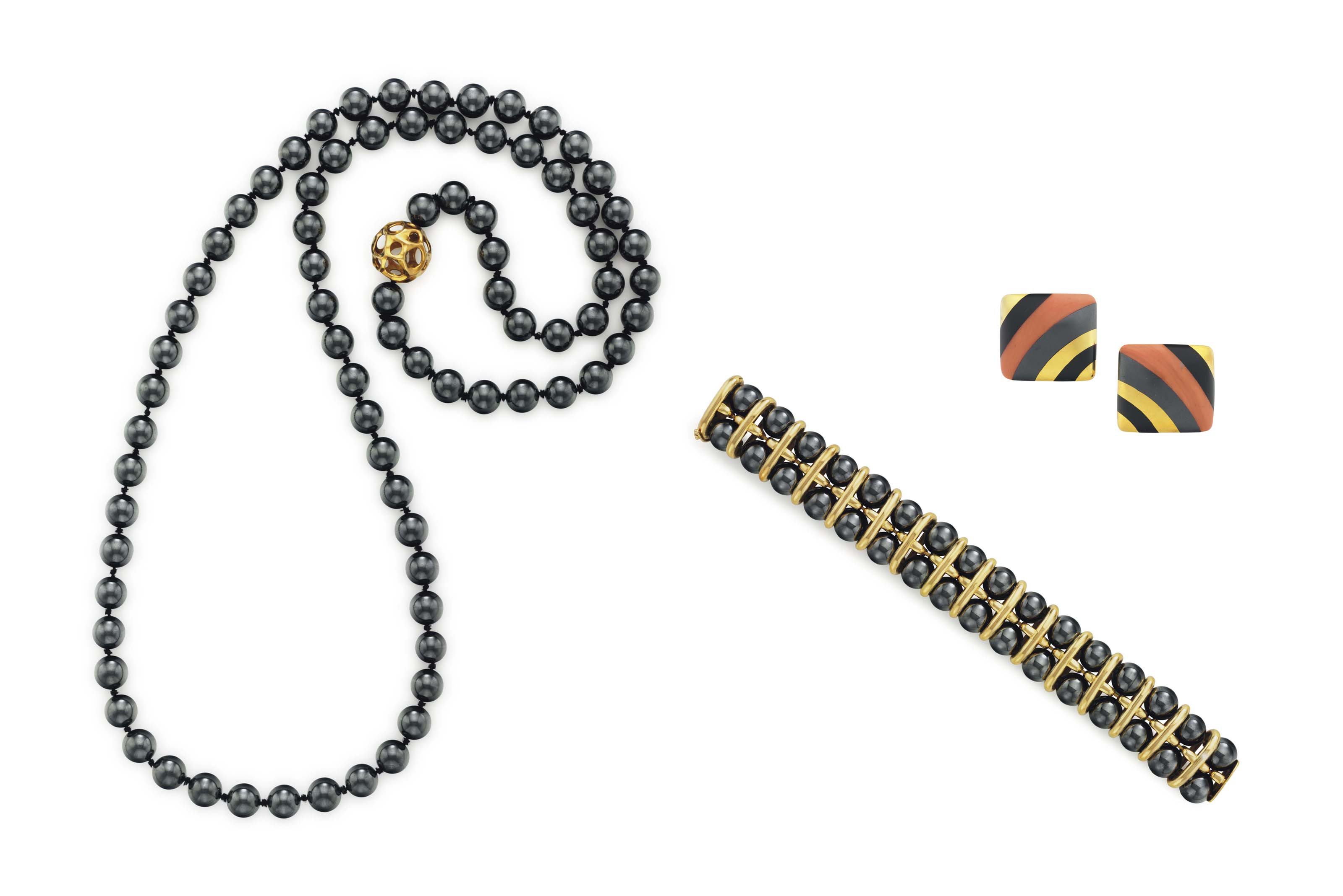 A GROUP OF HEMATITE AND MULTI-GEM JEWELRY