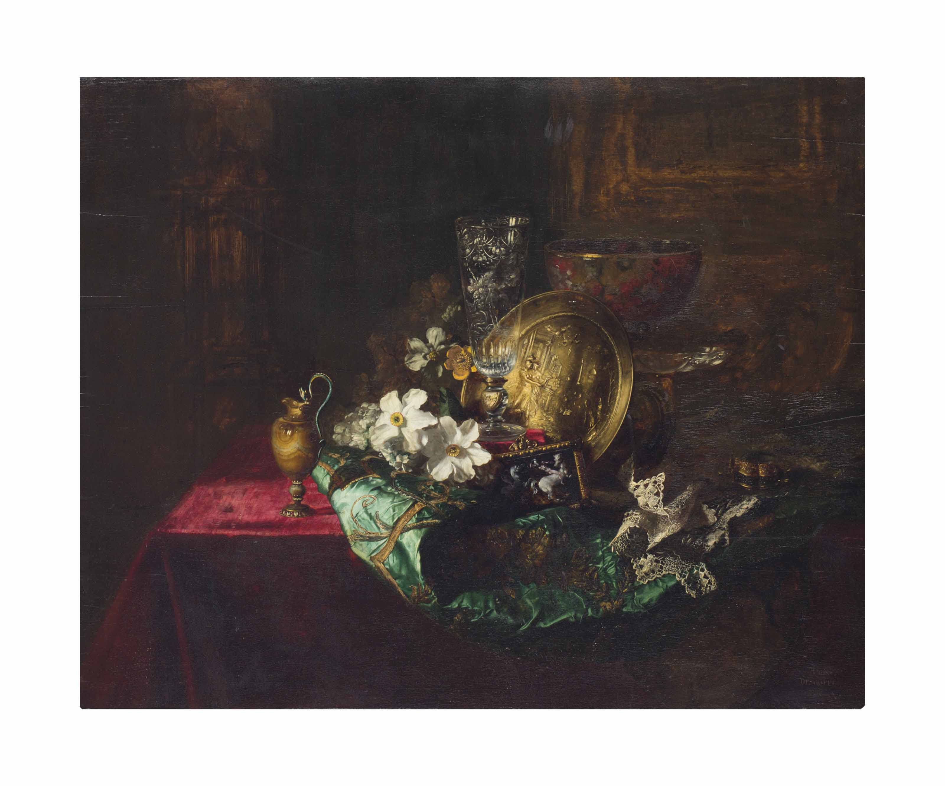 Flowers, a Crystal Goblet, a Gold Charger, an Alabaster Goblet and an Enamelled Plaque on a green Satin Robe on a Draped Table