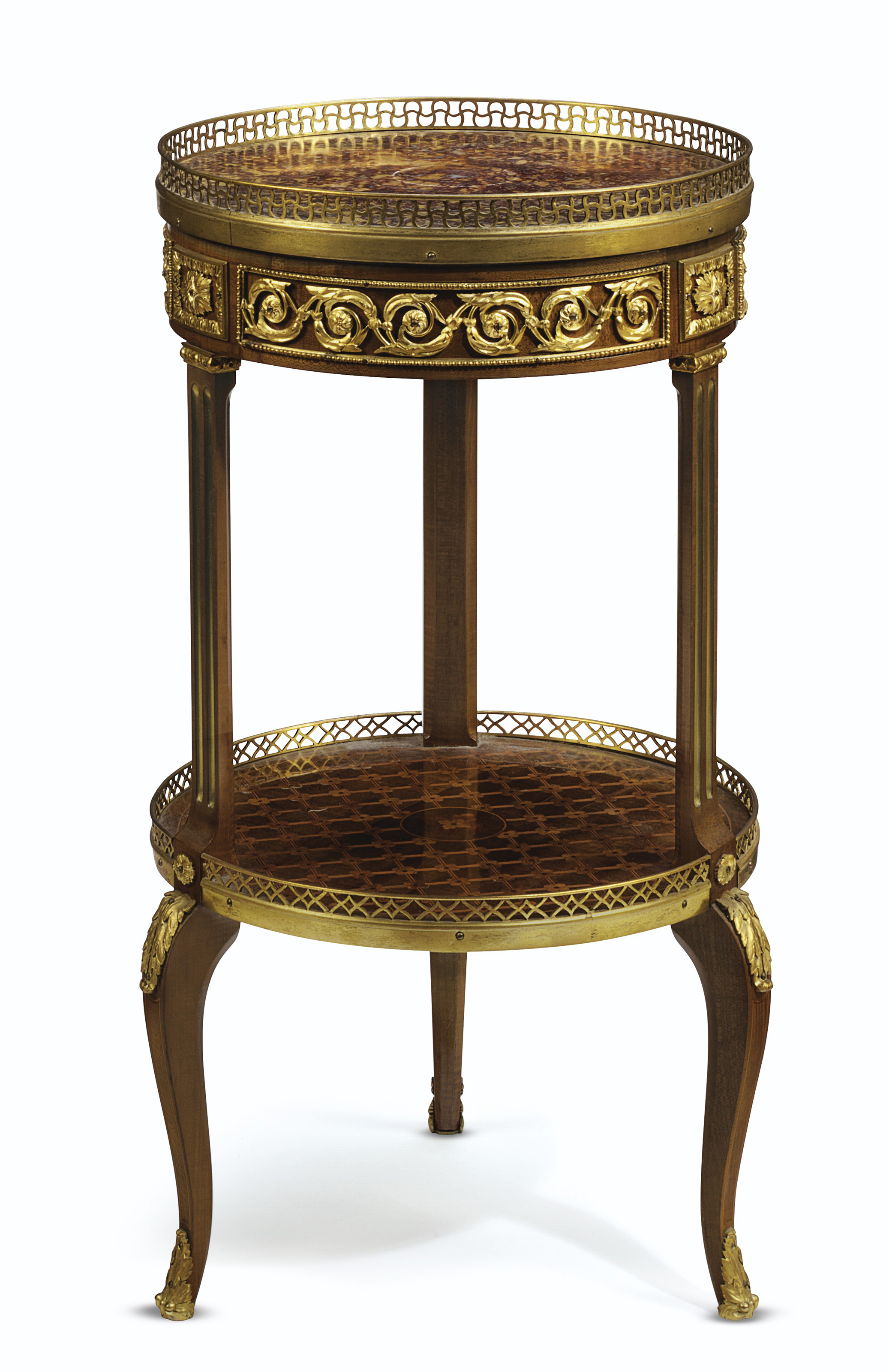 A LATE LOUIS XV ORMOLU-MOUNTED SYCAMORE AND FRUITWOOD-INLAID TABLE EN CHIFFONIERE
