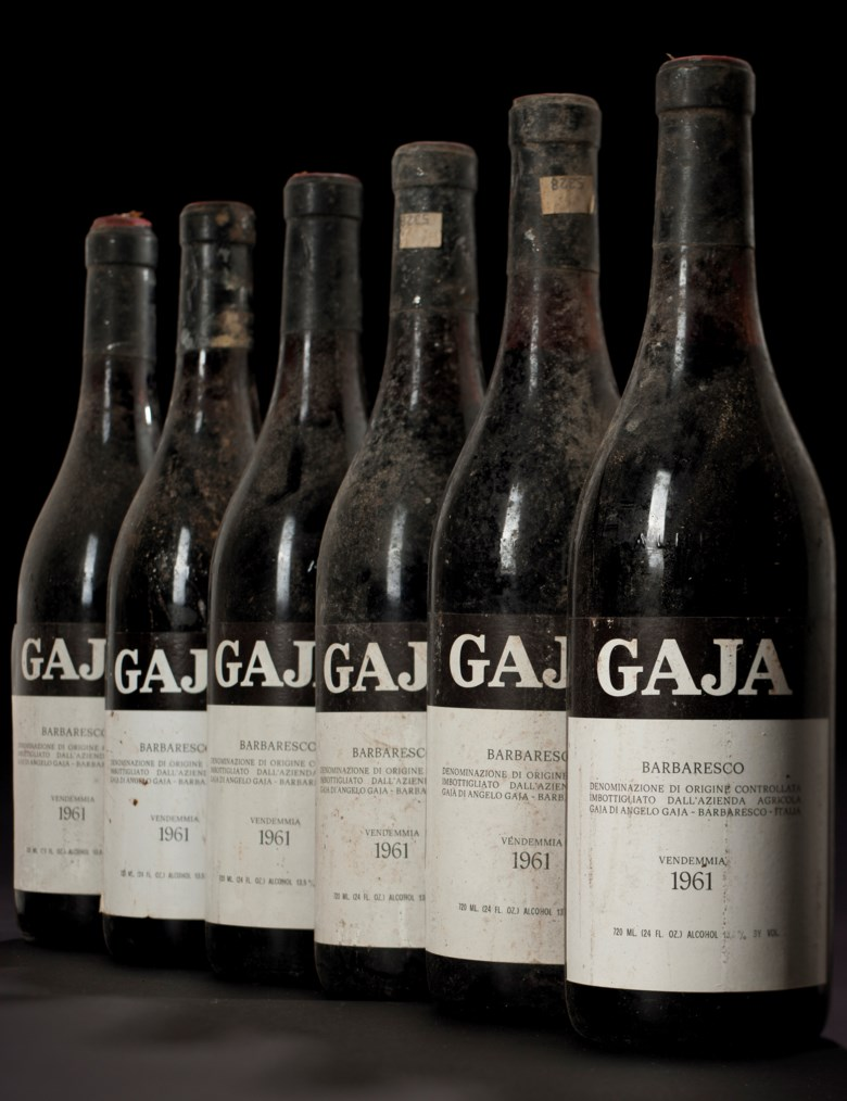 Gaja, Barbaresco 1961, 12 bottles per lot. Sold for $7,350 on 23 June 2017  at Christie's in New York