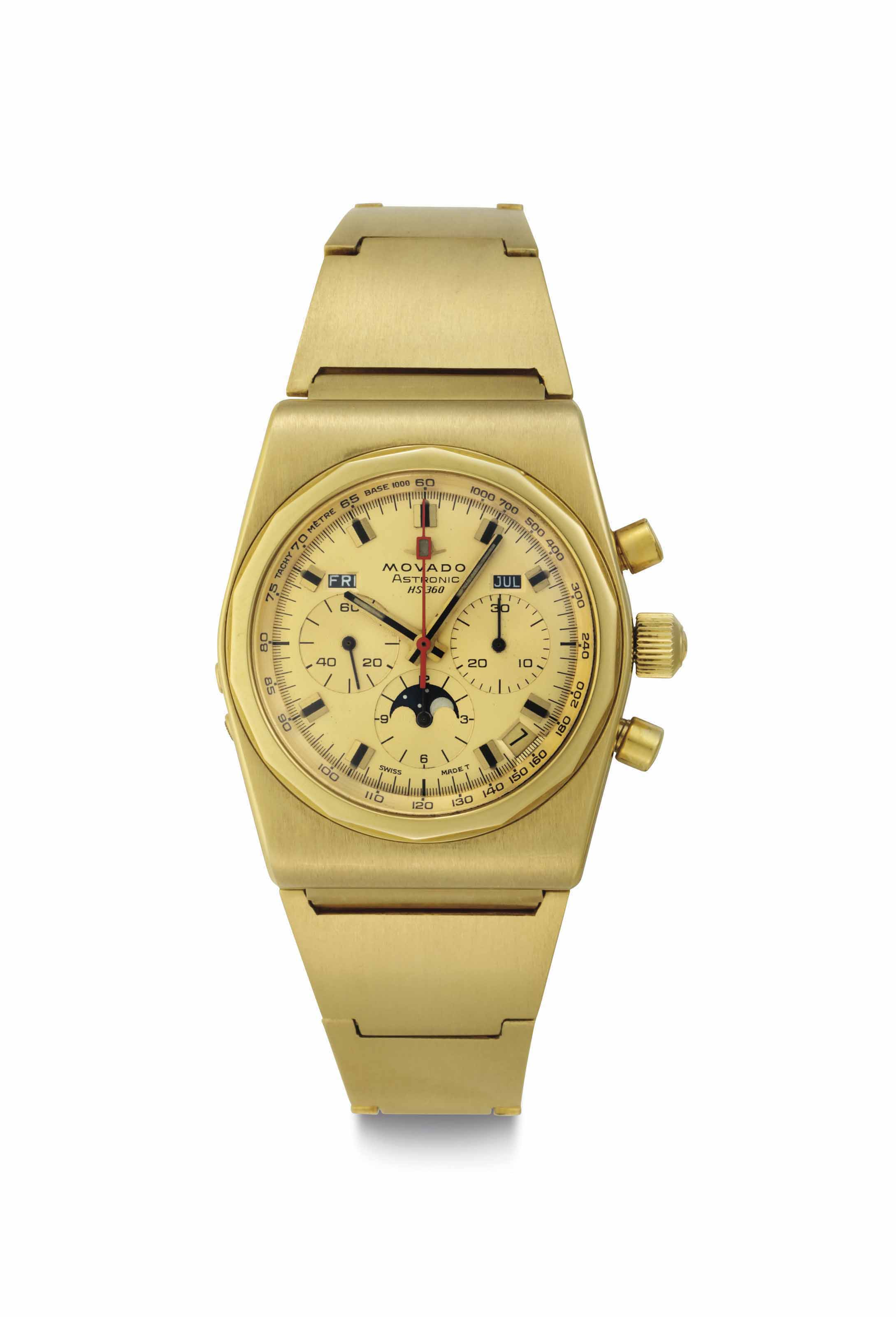 Movado. A Fine 18k Gold Tonneau-shaped Automatic Triple Date Chronograph Bracelet Watch with Moon Phases