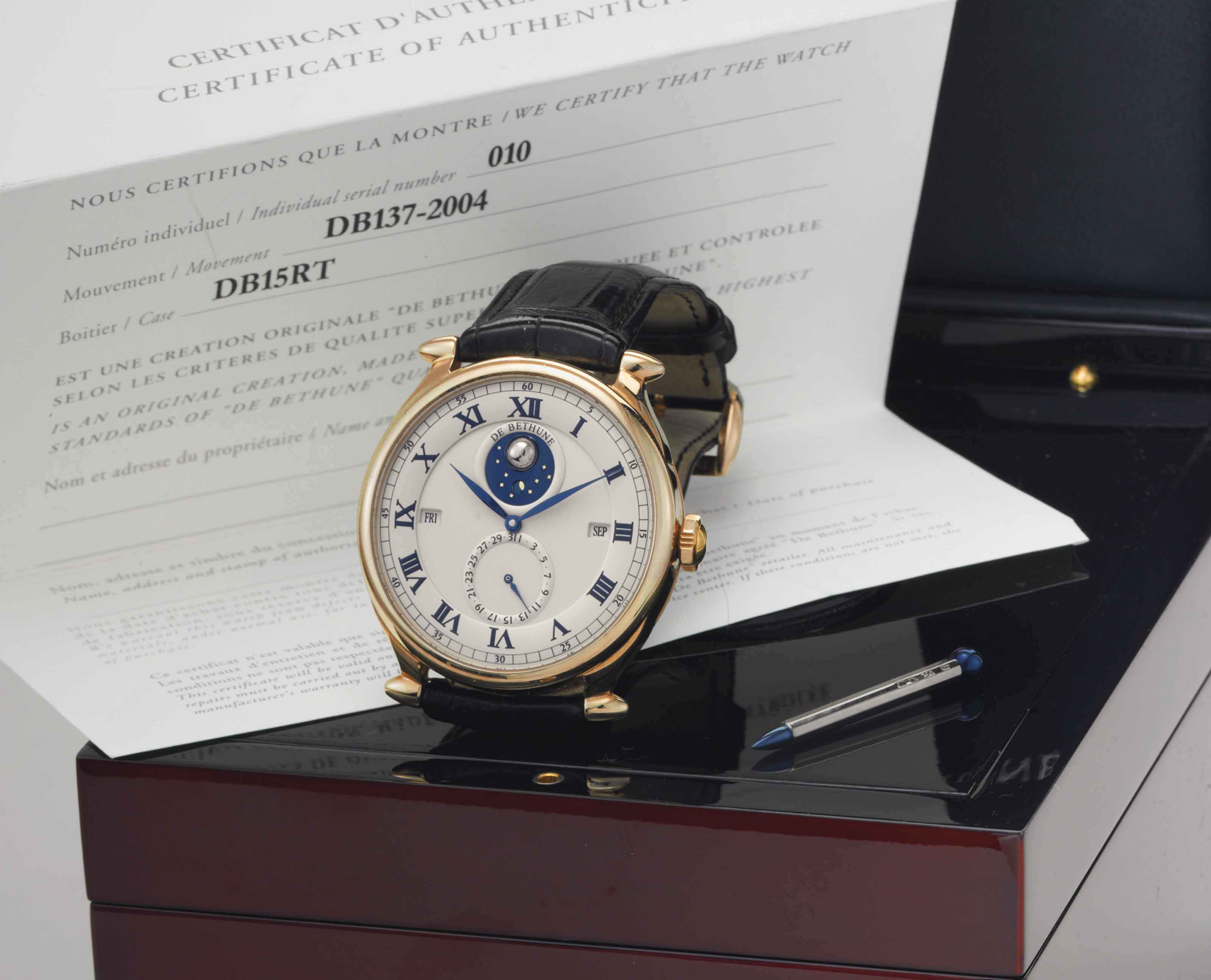 De Bethune. A Fine and Large 18k Gold Perpetual Calendar Wristwatch with Three-dimensional Revolving Moon Phases