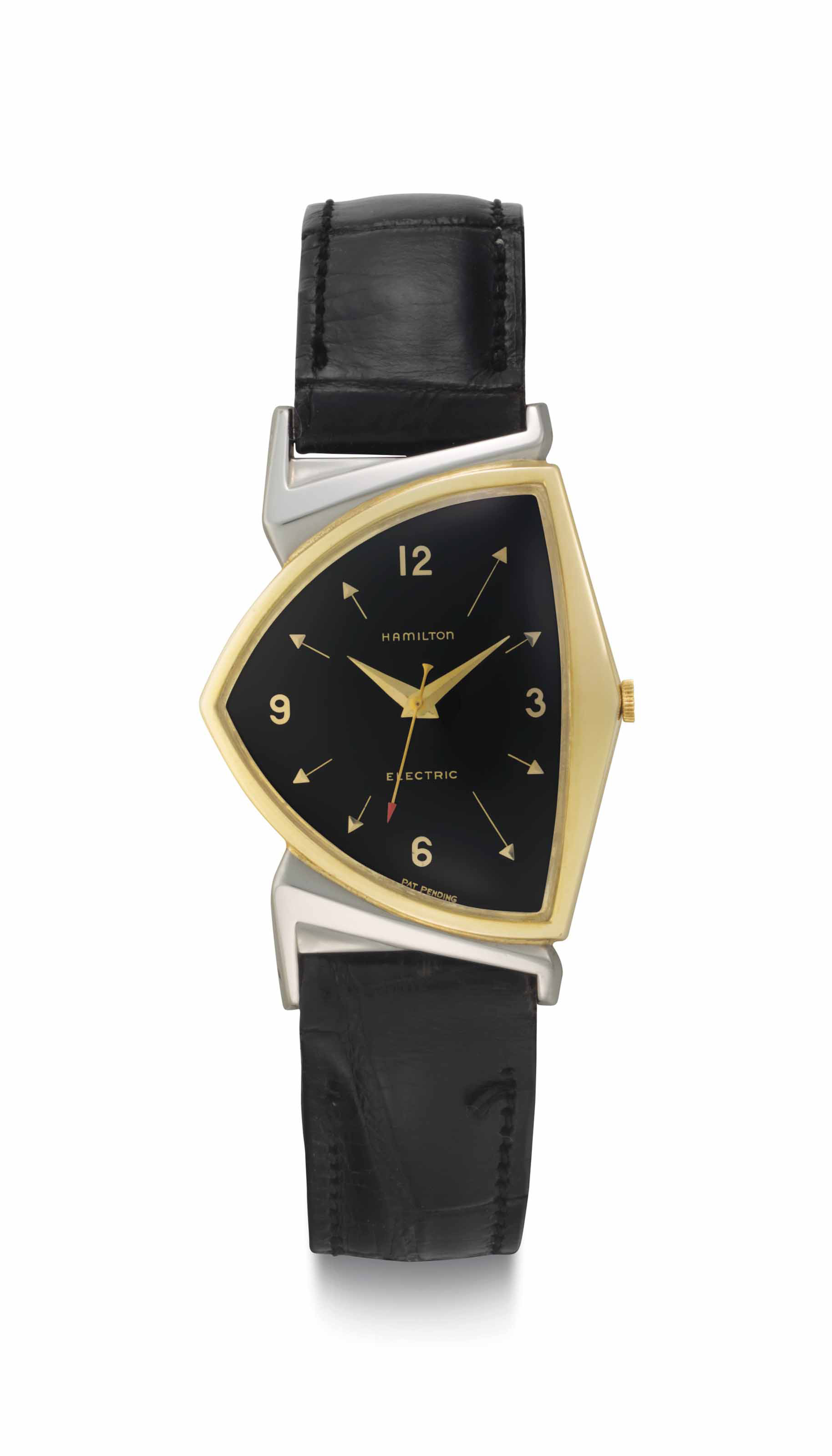 Hamilton. A Fine and Historically Important Two-Tone Gold Filled Asymmetrical Wristwatch with Center Seconds and Black Dial, Belonging to the 36th President of the United States, Lyndon B. Johnson