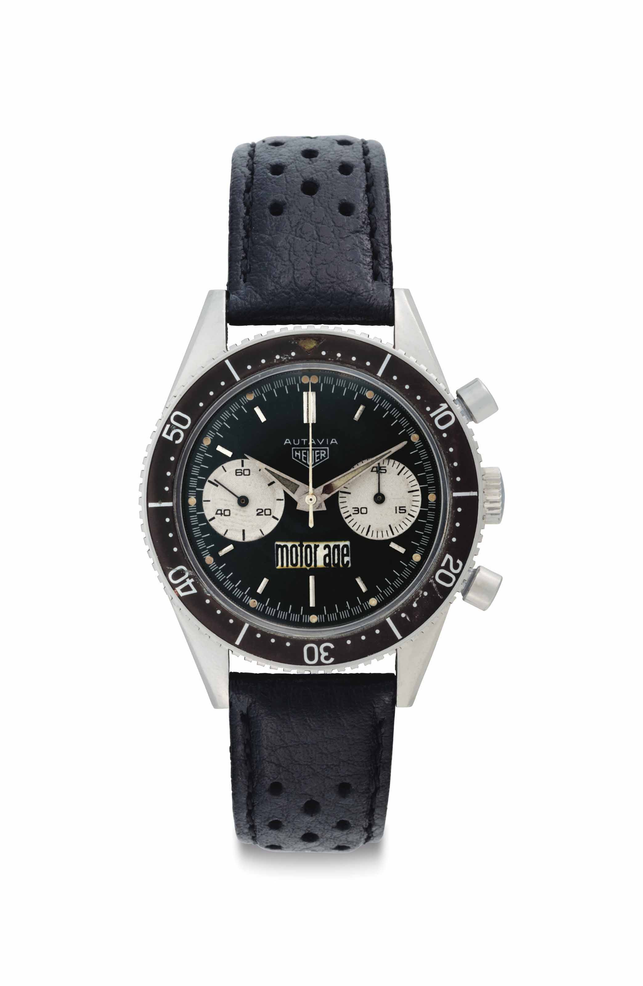 Heuer. A Very Fine and Possibly Unique Stainless Steel Chronograph Wristwatch, Formerly Belonging to American Stock Car Racing Driver Marvin Panch