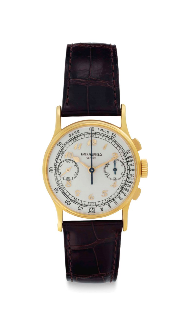 Patek Philippe. A rare and historically important 18k gold chronograph wristwatch with Breguet numerals, belonging to American Major League Baseball legend Joe DiMaggio. Signed Patek Philippe & Co., Genève, Ref. 130, Movement No. 867276, Case No. 653346, manufactured in 1947. Sold for $281,250 on 7 December 2017 at Christie's in New York
