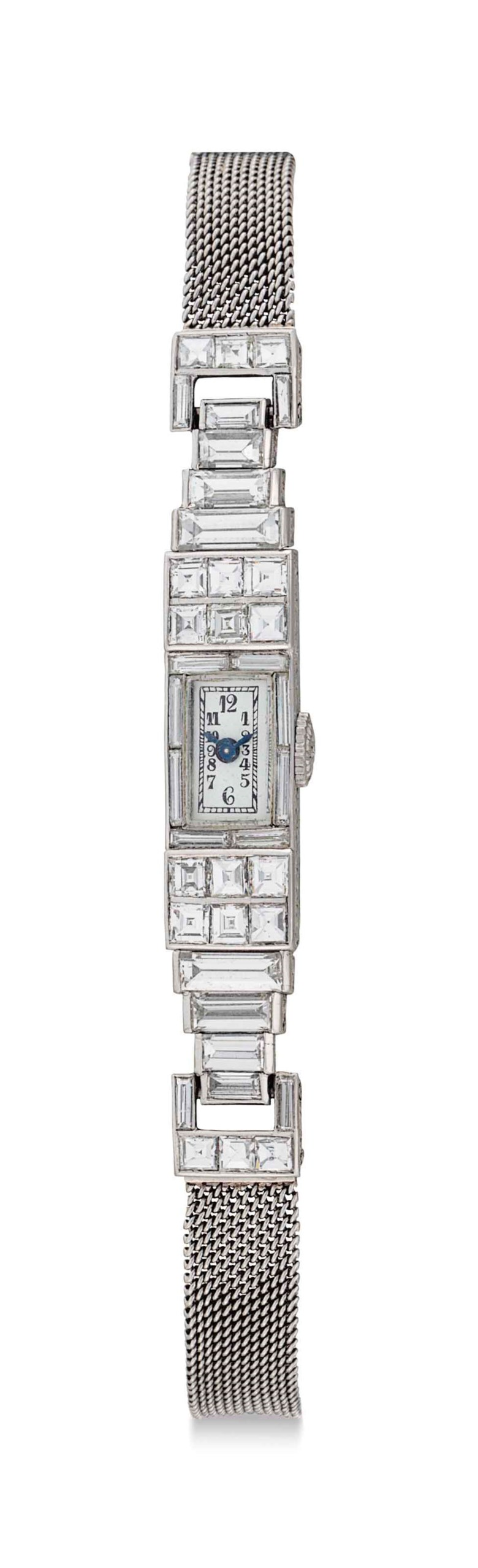 Patek Philippe. A ladies fine platinum and diamond-set bracelet watch, formerly belonging to Florence Preston Graves. Signed Patek Philippe & C., Genève, Movement No. 819262, Case No. 606747, Manufactured in 1928. Estimate $12,000-15,000. This lot is offered in An Evening of Exceptional Watches on 7 December 2017  at Christie's in New York