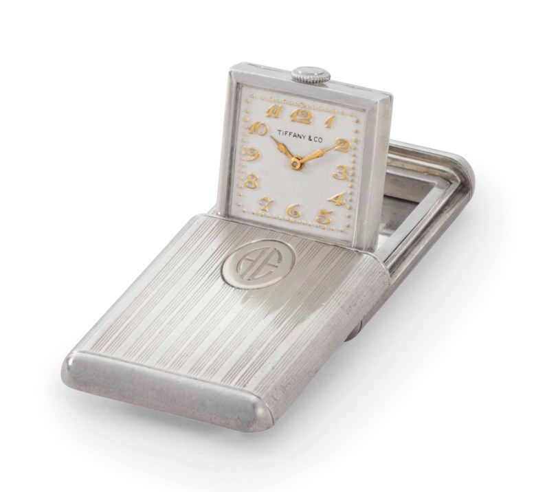 Cresarrow Watch Co. A fine silver travel watch, belonging to American aviation pioneer, Amelia Mary Earhart.Signed Cresarrow Watch Co., retailed by Tiffany & Co., Movement No. 853413, Case No. 2417, circa 1932. Estimate $60,000-120,000. This lot is offered in An Evening of Exceptional Watches on 7 December 2017  at Christie's in New York
