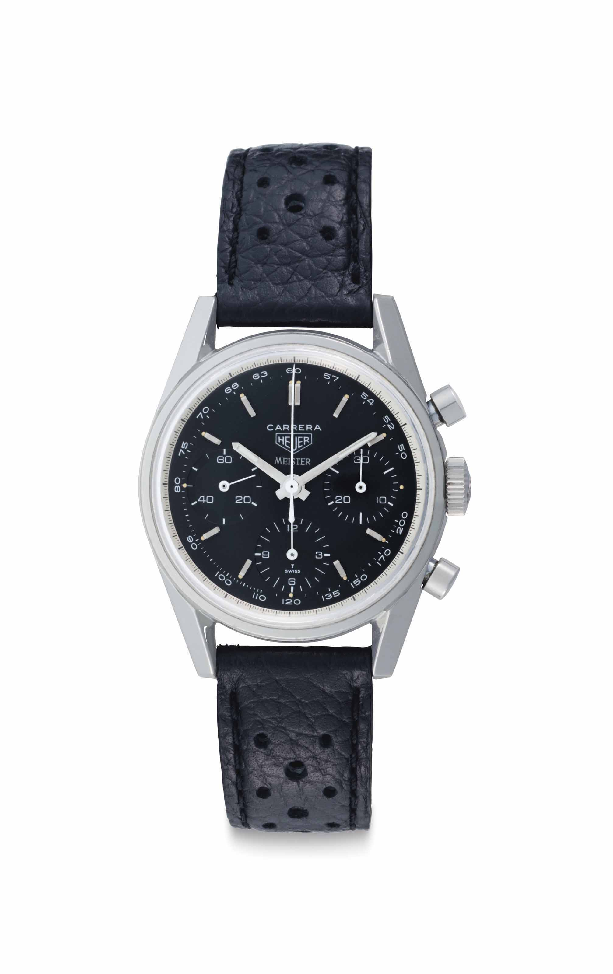 Heuer. A Fine and Very Rare Stainless Steel Chronograph Wristwatch with Black Dial