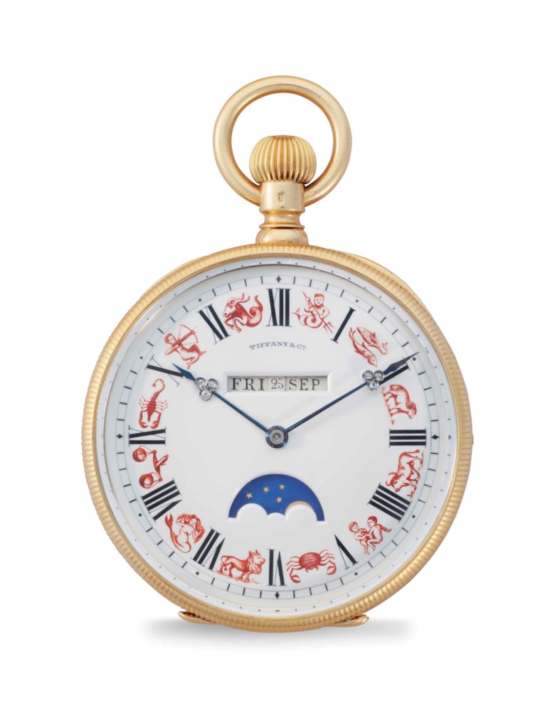 Patek Philippe. A Very Fine and Unique 18k Gold, Enamel and Diamond-set Perpetual Calendar Openface Pocket Watch with Digital Display, Moon Phases and Signs of the Zodiac. This lot was offered in An Evening of Exceptional Watches on 7 December 2017  at Christie's in New York and sold for $168,750