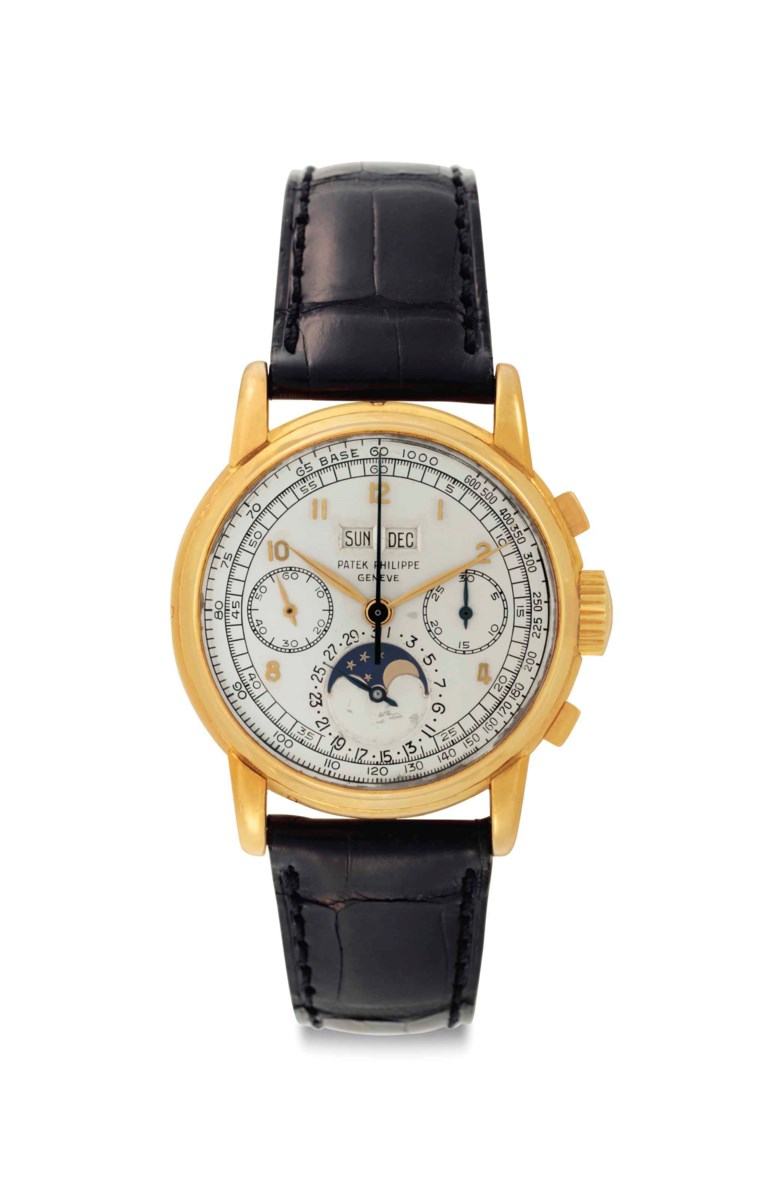 Patek Philippe. An exceptionally fine and rare 18k gold Perpetual Calendar Chronograph wristwatch with Moon Phases. Signed Patek Philippe, Genève, ref. 2499, first series, movement no. 868347, case no. 687763, manufactured in 1952. Accompanied by a Patek Philippe letter dated February 26, 1993, further confirming this watch and its manufacture in 1952 and a Patek Philippe Extract from the