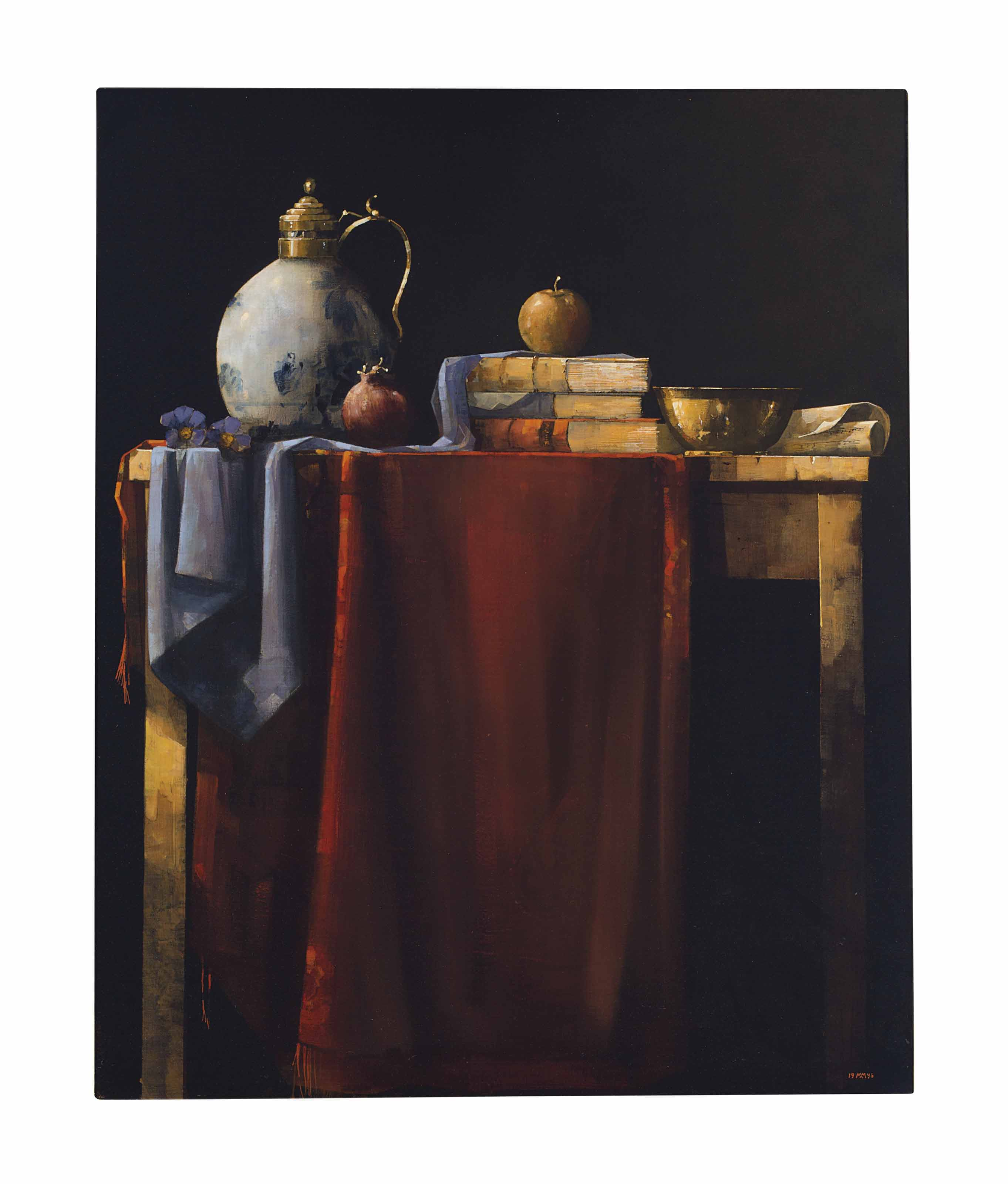 Still life with books and draped cloth on a table