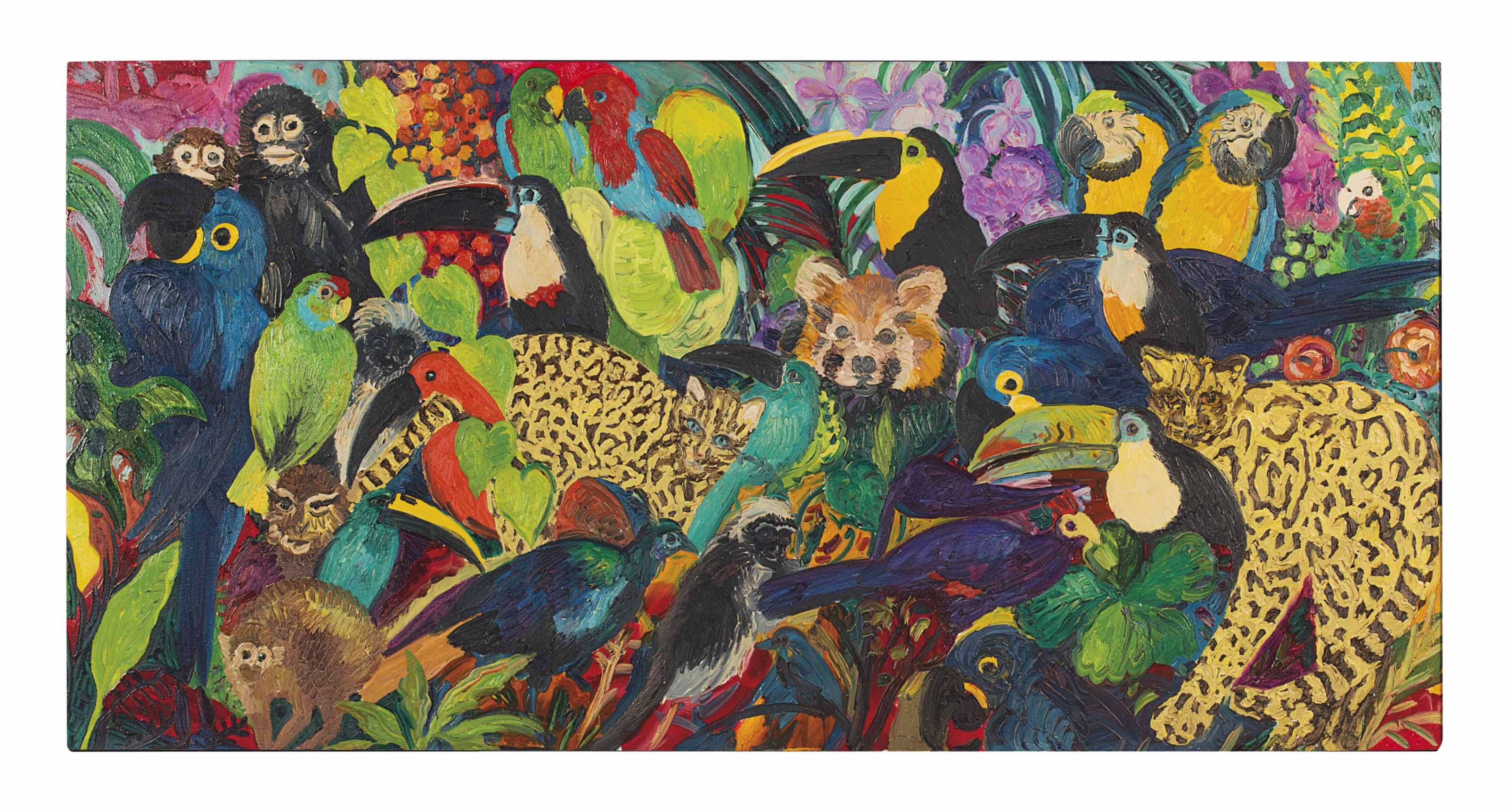Untitled (toucans, parrots, monkeys, ocelots and red panda)