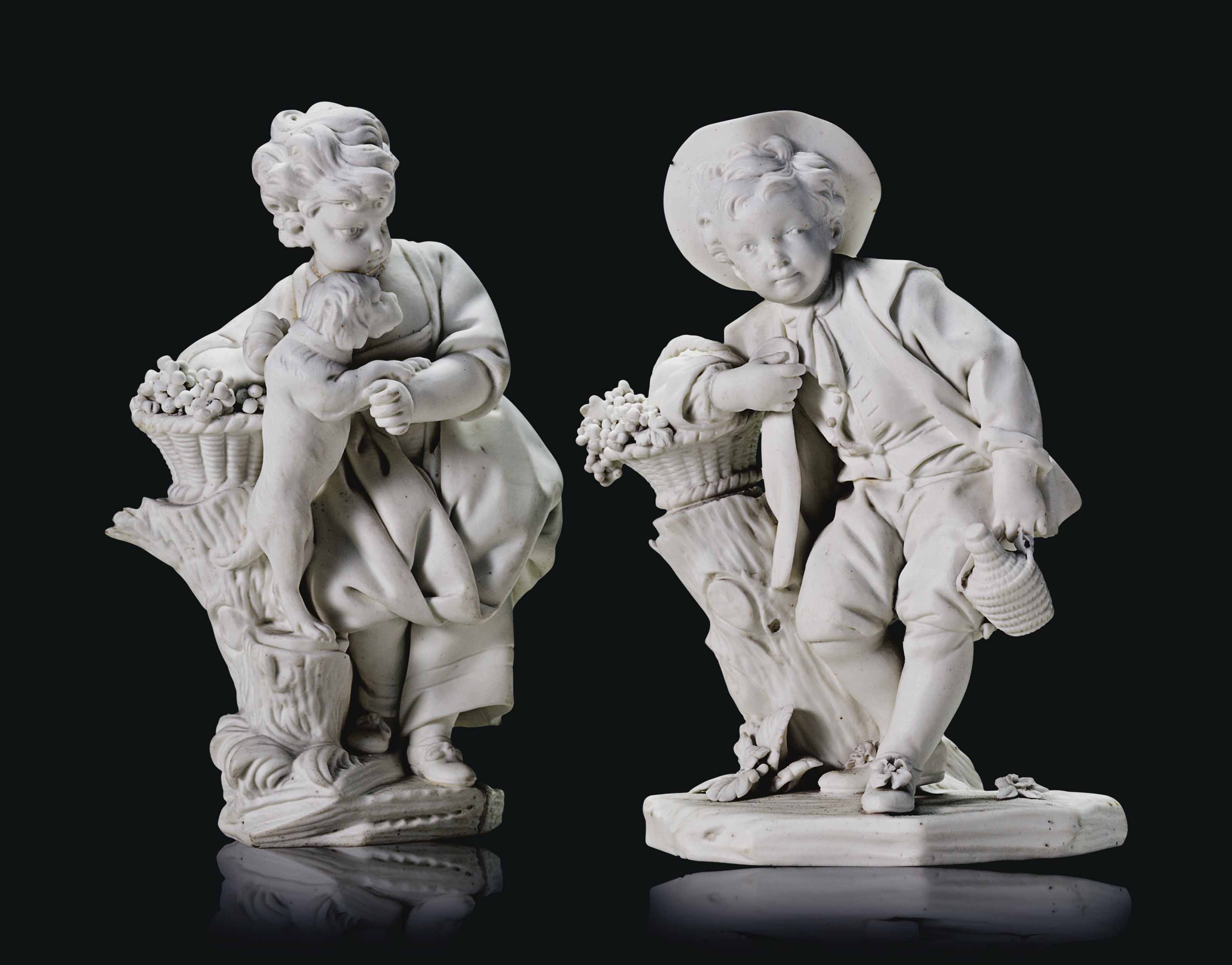 TWO SEVRES BISCUIT PORCELAIN F