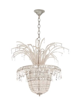 A CUT AND PRESSED GLASS AND WIREWORK HALL LIGHT