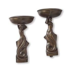 A PAIR OF PATINATED BRONZE FIGURAL WALL-LIGHTS