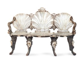 A VENETIAN GREEN-PAINTED, SILVERED AND 'MECCA' GROTTO BENCH