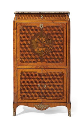 A LOUIS XV KINGWOOD TULIPWOOD AMARANTH PARQUETRY AND MARQUET