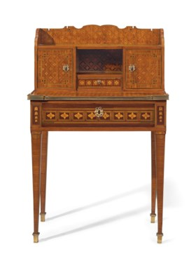 A FRENCH ORMOLU-MOUNTED TULIPWOOD, AMARANTH AND PARQUETRY B