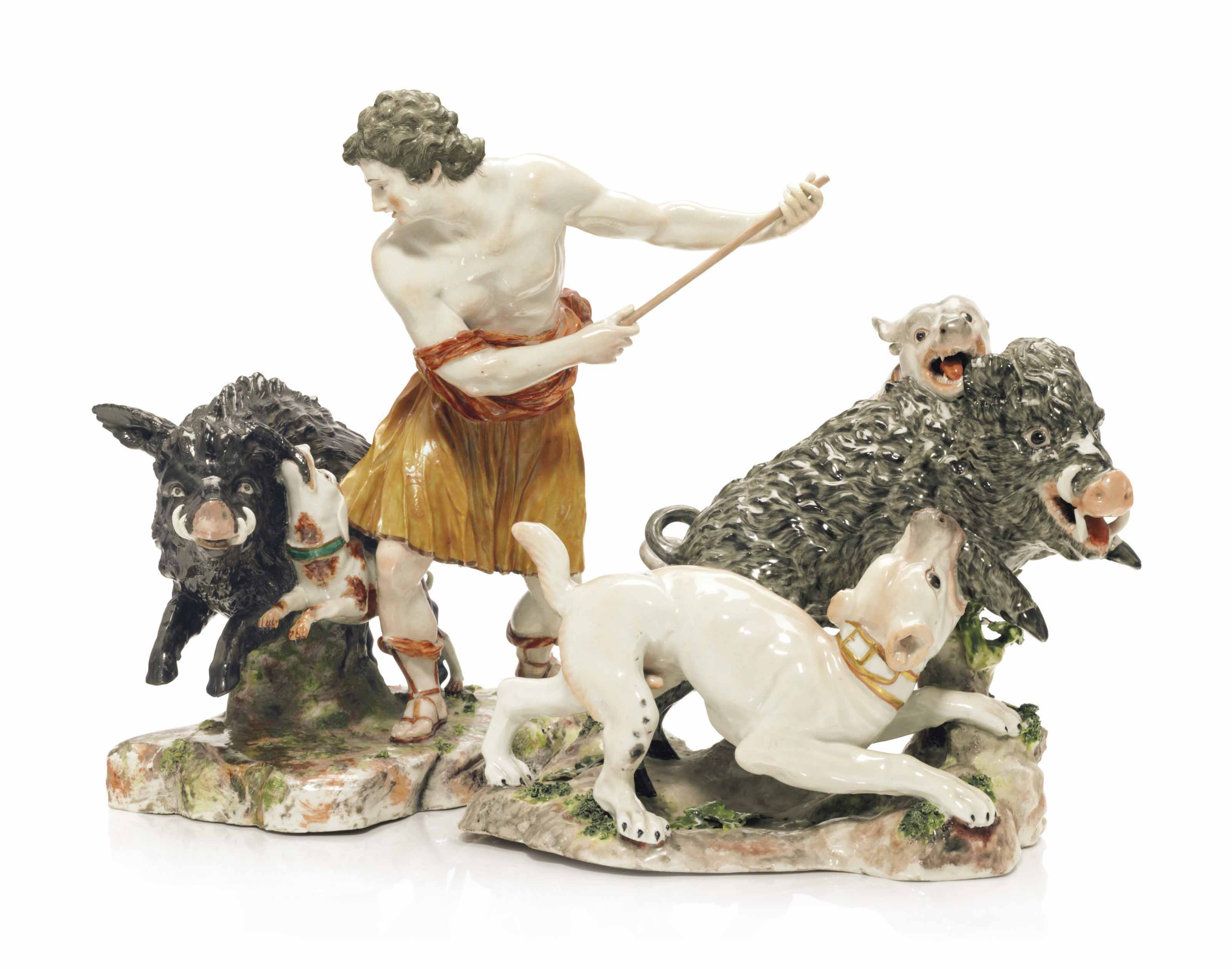 TWO LUDWIGSBURG PORCELAIN BOAR HUNT GROUPS