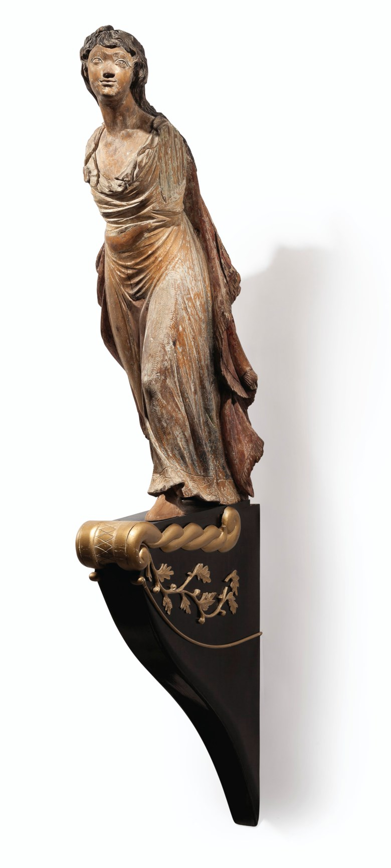 A carved pine ships figurehead of a young woman, attributed to William Rush (1756-1833), Philadelphia, c. 1809. 46½ in high, 15 in wide, 17½ in deep. Estimate $30,000-50,000. This lot is offered in Important American Furniture, Silver, Maritime, Folk and Outsider Art on 20 September 2017  at Christie's in New York