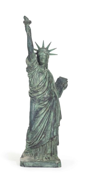 A CAST-BRONZE MODEL OF THE STATUE OF LIBERTY