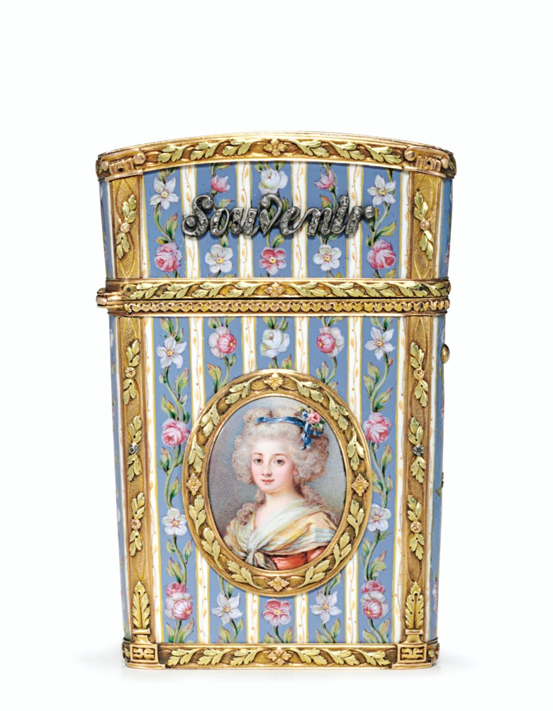A Louis XVI-style jewelled enamelled vari-colour gold carnet-de-bal, Continental, circa 1830, struck with marks resembling the Parisian charge mark of Eloy Brichard and a date letter for 1756. 3⅜  in (86  mm) high. This lot was offered in French & English Furniture from a Distinguished Private Collection on 24 October 2017  at Christie's in New York and sold for $2,500