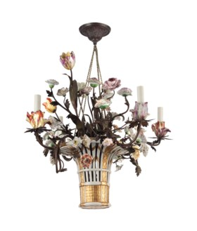 A FRENCH PORCELAIN AND TOLE FOUR-LIGHT CHANDELIER