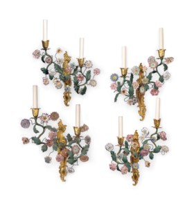 A SET OF FOUR FRENCH ORMOLU AND PORCELAIN TWIN-LIGHT WALL APPLIQUES