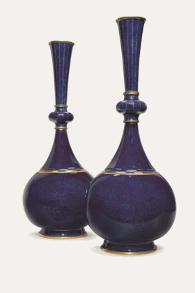 A PAIR OF SEVRES PORCELAIN POWDERED-BLUE GROUND VASES ('VASE BOUTEILLE PERSANNE'