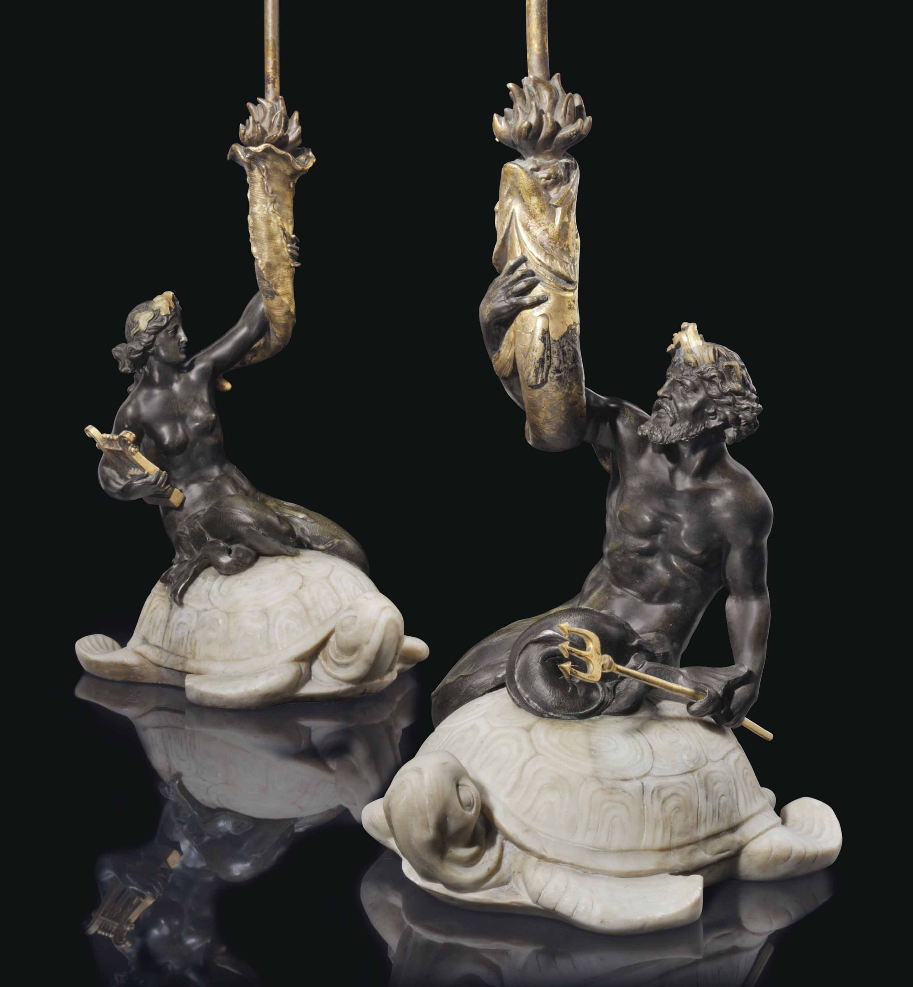 A PAIR OF AMERICAN ORMOLU, PATINATED-BRONZE AND WHITE MARBLE TABLE LAMPS